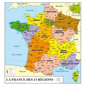 Carte de France physique et administrative 13 Nouvelles Régions