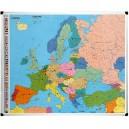 Carte de l'Europe plastifiée magnétique 124x103 cm