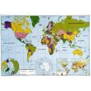 Carte Planisphère physique et politique 102x70 cm