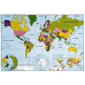 Planisphère physique et politique (2 faces)