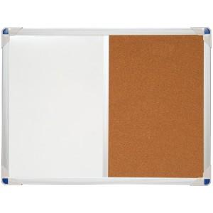 Affichage mixte : blanc effaçable à sec et liège - 60x45 cm